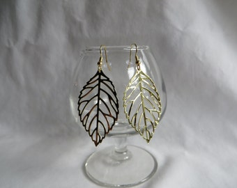 Gold Leaf Earrings, earrings, dangle, gold, leaf