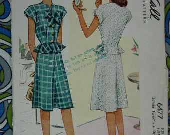 Vintage Pattern c.1946 McCall No.6477 Jr. 2 Piece Dress, Size 13, Bust 31