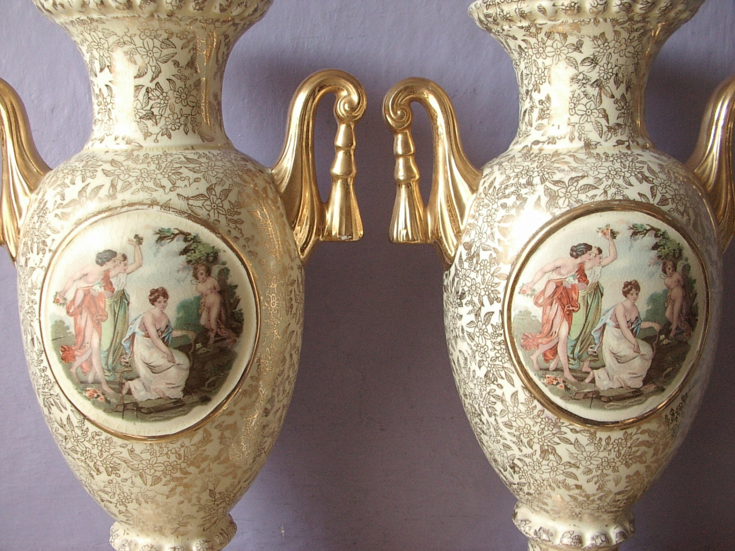 Antique Empire England Porcelain Vases Matching By Shoponsherman
