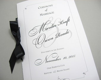 Wedding Program Booklet Elegant Black White Custom Classic  Design Traditional Script