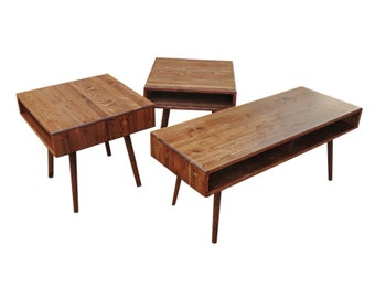 Mid Century Coffee Table and End Table Set - MADE TO ORDER