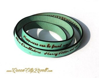 Personalized Leather Wrap Bracelet, Mint Green Leather, Custom Script Text, Adjustable