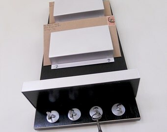 MODERN MAIL ORGANIZER, Black Wall Mount, with Key Rack and Shelf