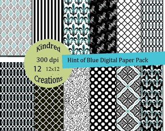 Hint of Blue Digital Paper Pack 300 dpi 12x12 30 papers For Personal or Commercial Use