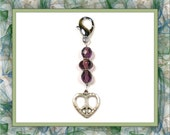 Amethyst Peace Heart Keychain
