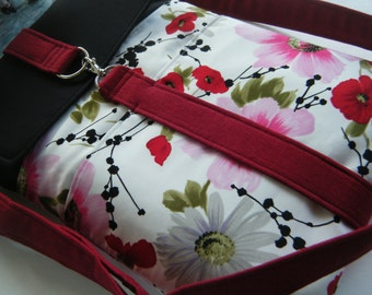 "Laptop bag-11"",13"",14"",15"",17""Macbook,MS SurfacePro,LenovoYoga,Sumsung chromebook,Acer, Hp, ASUS-padded-POCKETS-Poppies N floral"