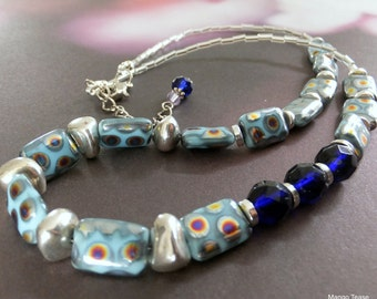 Turquoise Czech Glass Bead Neckklace, Cobalt Blue Bead Necklace, Silver Metal Beads, OOAK, FREE SHIPPING