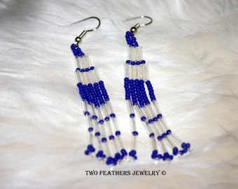 Blue And Clear Native Style Earrings - Tribal Style - Hand Beaded Earrings - Bohemian - Long Earrings - Gift For Her - Czech Glass