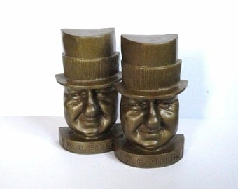 W.C. Fields Bookends - Vintage Book Ends - Plastic Book Ends - Man Cave - Vintage Library