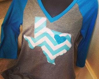 Turquoise and Gray Shirt with Turquoise Chevron Texas