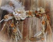 Angelic Headdress// Ivory, white, Cream, Orange, Shells, Feather, Flower, Yarn, Bridal, Wedding