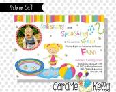 Printable Boy or Girl Kiddie Baby Pool Party Summer Party Birthday Invitation- Digital File