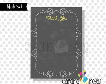 Printable 5x7 Coordinating Chalkboard Birthday Baby Shower Invitation Thank You - Digital File