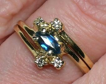 Sapphire & Diamond Ring, 1980s Preppy Vintage Elegance, Engagement Wedding