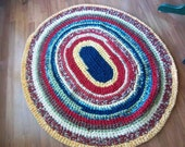 "Heavy Colorful 47"" X 54"" Crocheted Oval Rag Rug for your Yellow Room"