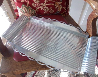 Vintage Aluminum Serving Tray with Scalloped Edge