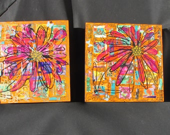 OOAK painting collage mosaic butterfies stickers orange floral
