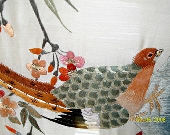 Asian Antique Silk Needlework Wall Hanging Pheasant Flowers in Silk on Silk 1900s 1 of pair