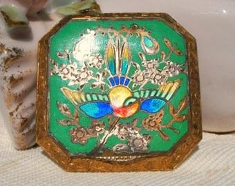 Austrian Cloisonne Swallow Compact Sterling Silver and GORGeous