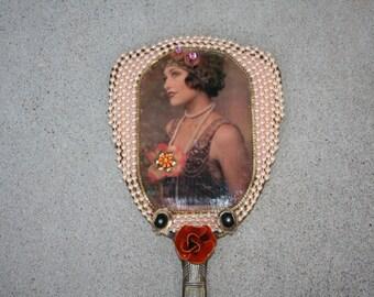 FLAPPER Vintage Rhinestone Embellished Vanity Hand Mirror