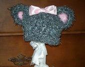 Sweet Baby Bear Hat in Grey with Purple Accents
