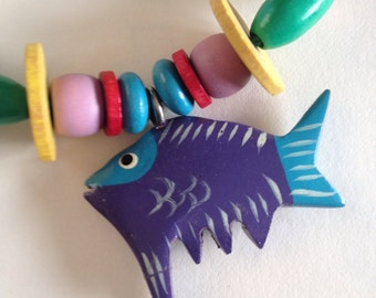 Wooden colourful beaded necklace, fish pendant, children necklace, gift for girls, rainbow, long, birthday gift