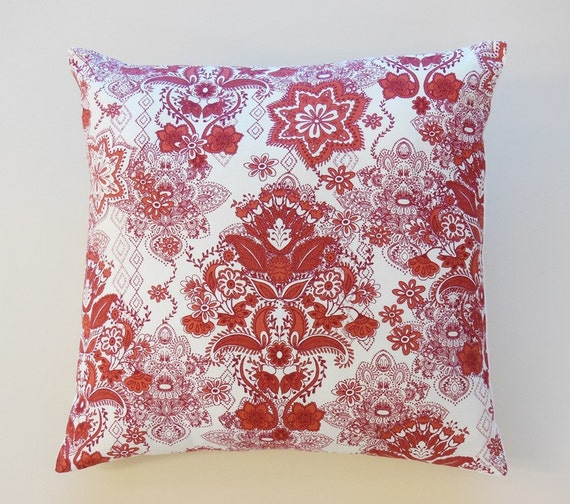 Items similar to Decorative Pillows Damask Floral Print Red White 20