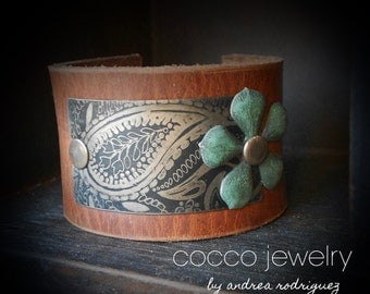 Etched Paisley Leather Cuff Bracelet