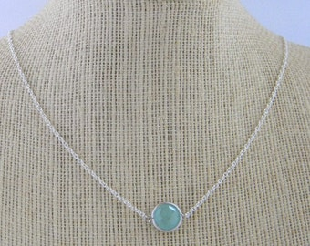 Something Blue Necklace - Layering Necklace - Minimalist Necklace- Petite Necklace -Sterling Silver-Layering Piece-Bride-Bridal Jewelry-Gift