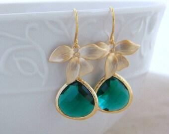 Emerald Green Earrings - Gold Earrings - Fashion Emerald Earrings-Gold Orchid Teardrop Jewel Earrings-Gift For Her- Modern Jewlery