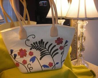 Vintage Handbags Silk and Cotton Tote Purse Handbag Cream Cotton Floral Stitching Retro Style Summer Tote Priscilla's Pink Closet