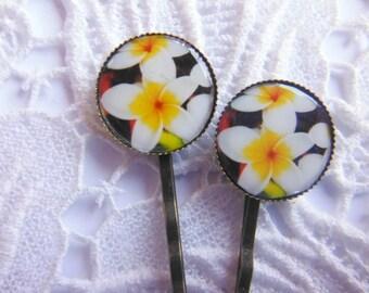 Frangipani Flower Hair Clips Bobby Pins.