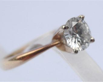 Vintage Genuine Diamond 14K Gold Ring Diamond Engagement Ring Diamond Ring Round Diamond Gold Ring Diamond Solitaire Ring Ladies Ring Size 4