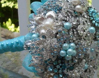 It's all about the Details!..Beautiful Large Brooch and Jeweled Bouquet ....made to order