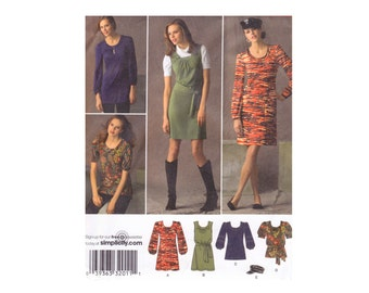 Simplicity 2850 Knit Mini Dress, Dress or Tunic Top Hat Cap OOP UNCUT Sewing Pattern Sizes 4 6 8 10 12 Bust 29 1/2-36
