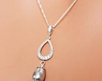 CZ Rhinestone Pearl Drop Bridal Necklace, Bridal Jewelry, Wedding Jewelry, Bridesmaids Jewelry, Bridal Pendant