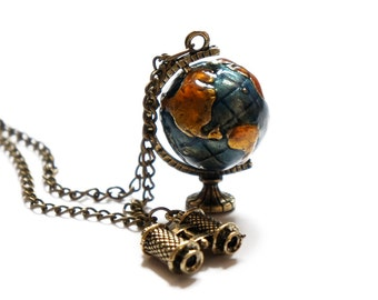 SALE The Traveler Necklace - Globe and Binoculars