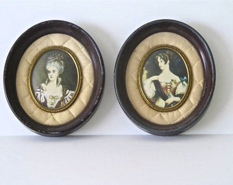 Vintage Miniature Portrait Paintings in Oval Wood Frames,  Set of Two Victorian Ladies
