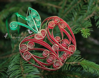 Paper Quilling Apple Ornament in a gift box , Teachers Gift, Home Decor, Teachers Appreciation, Christmas