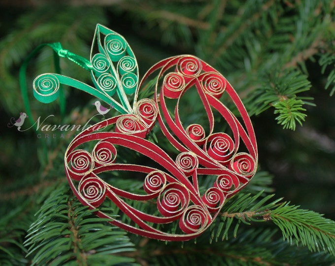 Paper Quilling Apple Ornament in a gift box , Teachers Gift, Home Decor, Teachers Appreciation