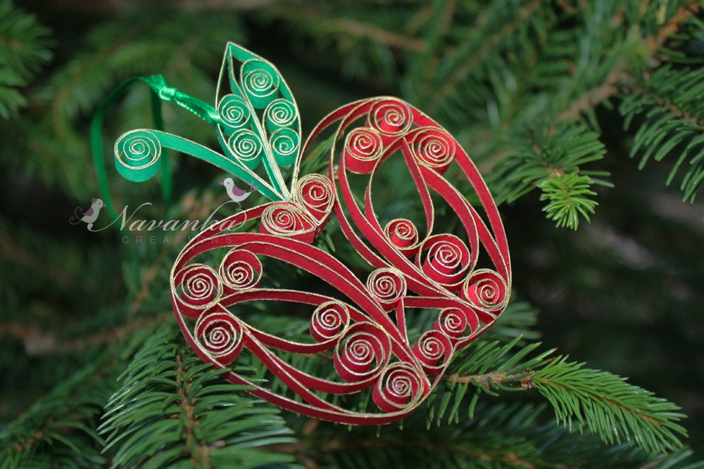Quilled Paper Ornaments Paper Quilling Apple Ornament
