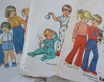 Three 1970s Simplicity Size 12 Months Pattern Lot, Children's Sewing Patterns 6779, 9948, and 5051 uncut