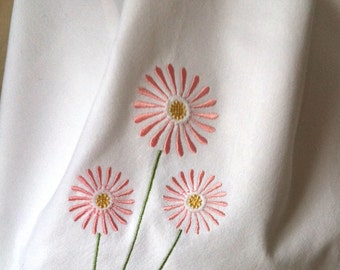 Pink Daisies flowers embroidered towel