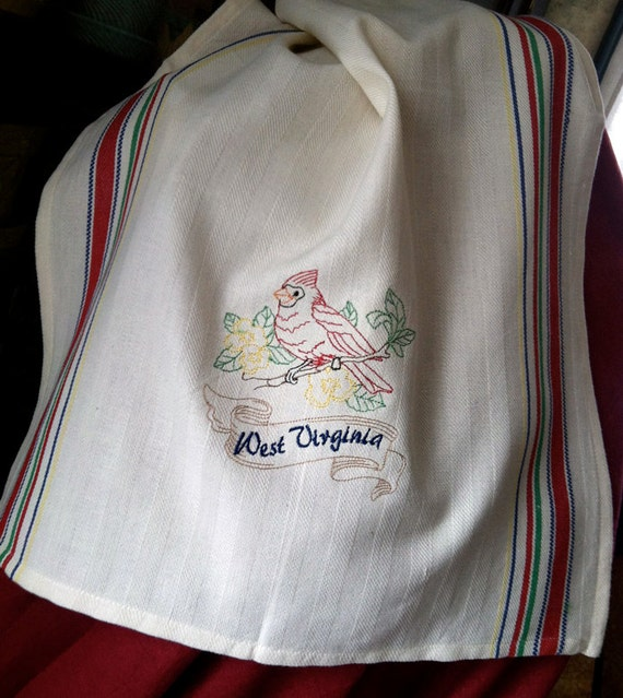Vintage style souvenir West Virginia State Bird cardinal embroidered kitchen dish towel