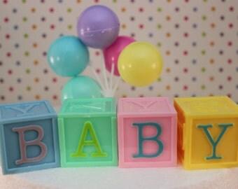 Baby Block Cake Topper/ Baby Shower
