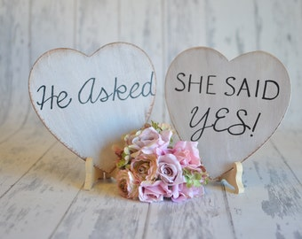 TWO Heart Signs - He Asked/She Said Yes- Engagement/Wedding Photography Props-Wedding Signs-Your Choice of Colors- Ships Quickly