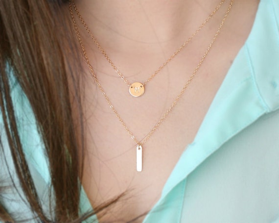 Tiny bar necklace - Sterling silver/ gold filled, small long bar necklace, layer necklace, simple delicate necklace, fall fashion jewelry