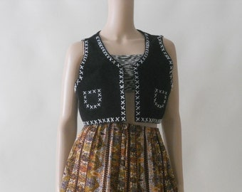 black and white 70s suede tribal boho hippie indian vest tank top  . medium . large