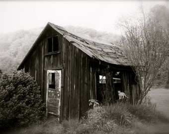 8x10 B&W Photographic Print Landscape of West Virginia Outbuilding