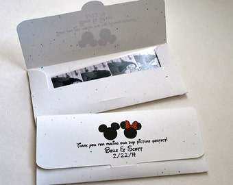 Photo booth Photo-Strip Picture holder Envelopes Disney Inspired Wedding Mouse themed